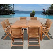 Solid Teak Dining Table Amazonia Coventry 9 Piece Teak Patio Dining Set Sc Dian Oval Ninia