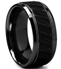 black steel rings images King will hammer 8mm black tungsten carbide ring hammered brushed jpg