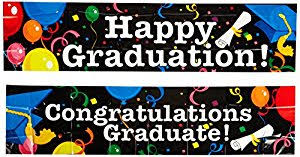 congratulations graduation banner beistle 2 pack graduation banners 15 inch by 5