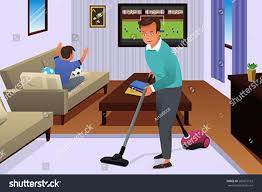 vector illustration father vacuuming carpet house stock vector