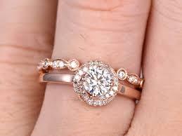 open wedding band moissanite engagement ring set diamond wedding bands gold