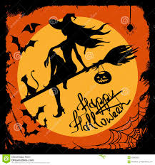 Cat Silhouette Halloween Halloween Illustration With Witch Silhouette Royalty Free Stock