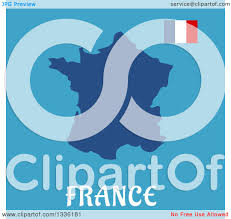 clipart of a flat design french flag and map over text on blue