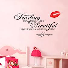 Marilyn Monroe Bedroom by Aliexpress Com Buy Marilyn Monroe Wall Sticker Smile Quote