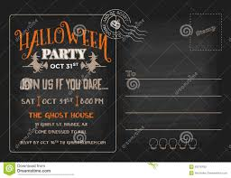 post card invitation halloween party postcard invitation template stock vector image