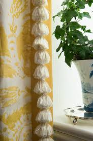 White Curtains With Blue Trim Curtain Detail Tassel Trim And Contrasting Banding On The Leading