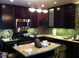 Kitchen With Tile Backsplash Furniture Exciting Dark Rta Cabinets With Under Cabinet Lighting