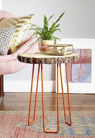 diy tree slab side table with hairpin legs emily henderson