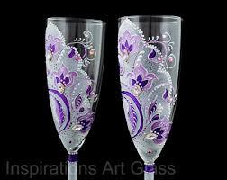 Wedding Gift Glasses Purple Wedding Glasses Toasting Flute Set By Inspirationsartglass