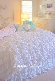 Shabby Chic White Comforter Beach Cottage Chic Dreamy Ruffles Comforter Set