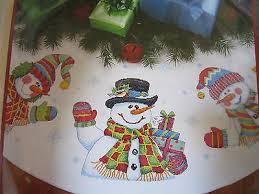 dimensions 8823 three snowmen tree skirt cross stitch kit sealed