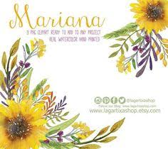 watercolor sunflower clipart floral frame png wedding bouquet