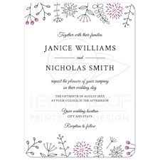 Borders For Wedding Invitation Cards Purple Nature And Flower Doodle Border Modern Wedding Invitation