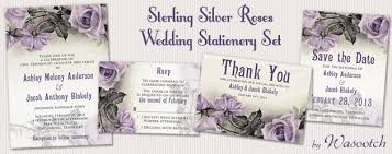 wedding stationery sets party simplicity grey ivory and purple wedding invitation