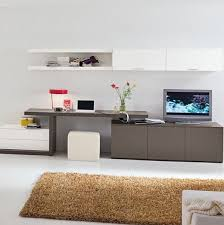 combination of tv console work space and cabinets living room