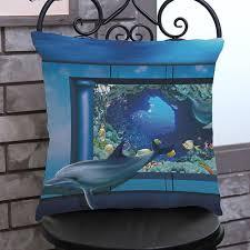 3d octopus dolphin painting pillowcases blue linen pillow cover