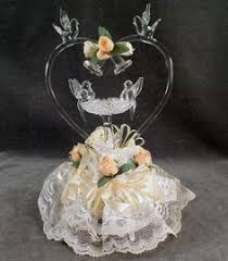 swans kissing hand blown glass wedding cake top topper 119 40