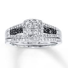 black diamond wedding sets black white diamonds 1 2 ct tw bridal set 10k white gold