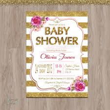 pink and gold baby shower invitation baby shower baby