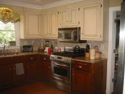 Rustic White Kitchen Cabinets - l shaped distressed white kitchen cabinets mixed green patterned