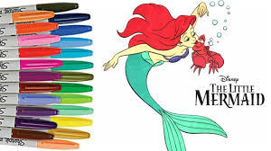 the little mermaid coloring book page princess ariel sebastian