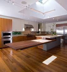 kitchen floating countertops with wood flooring also island