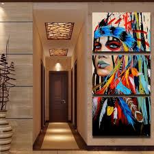 native american home decor 5 panels canvas prints native american girl feathered women canvas