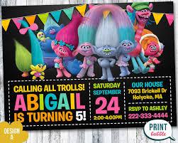 trolls invitation trolls birthday trolls party trolls invites