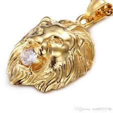 titanium gold necklace images Wholesale stylish men 316l titanium steel lion head pendant inlaid jpg