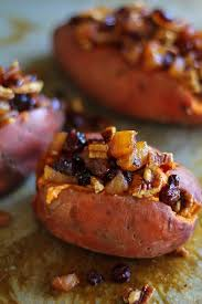 stuffed sweet potatoes with caramelized pears pecans and