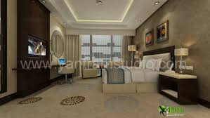 3d classic interior design rendering for hotel bedroom interior