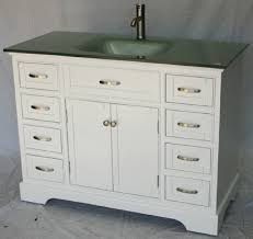 46 inch bathroom vanity transitional shaker white color with glass