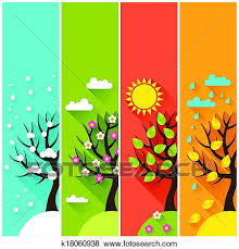 clip of vertical banners with winter summer autumn