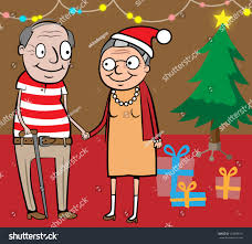 At Home Christmas Trees by Cartoon Vector Illustration Happy Old Couple Stock Vector