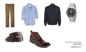 five ways to wear one tan khaki chinos effortless gent