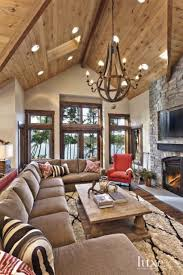 living room wooden high ceiling in cathredal design rustic
