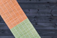 Bamboo Table Top by Bamboo Mat On Wooden Table Top View Stock Photo Image 76702212