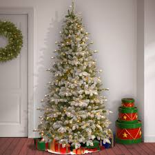 Easy Assemble Christmas Trees The Holiday Aisle Snowy Everest Frosted Green Fir Artificial