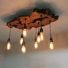 Wooden Chandeliers Lighting Custom Made Medium Live Edge Olive Wood Chandelier Rustic And