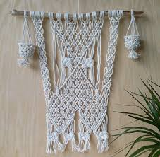large macrame wall design with led candles bohemian macrame zoom