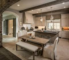distressed island kitchen antique white cabinets exposed beams contrasting distressed