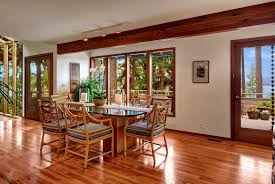 craftsman dining room with hardwood floors u0026 french doors in