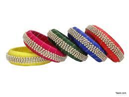 yaalz silk thread broad bangles in multi color