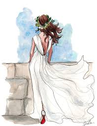 wedding dress shopping sketches fashion illustrations and