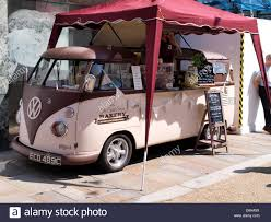 volkswagen van wheels vw split screen coffee shop on wheels worcester uk stock photo