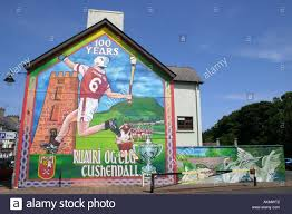 Painting Of House by Painting On Gable Wall Of House In Cushendall County Antrim Stock