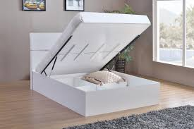 Ottoman Storage Bed Double by White High Gloss Double Bed Homegenies