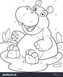 coloring page outline cartoon cute hippo stock vector 629995643