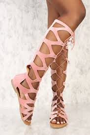 blush strappy lace up gladiator sandals faux velvet