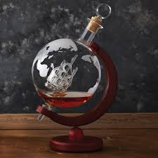 globe globe whiskey decanter with antique ship wine enthusiast